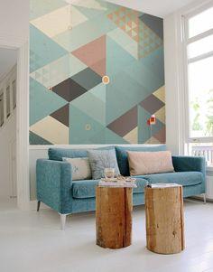 salon moderne au papier peint géométrique, tendance papier peint trompe-l'oeil