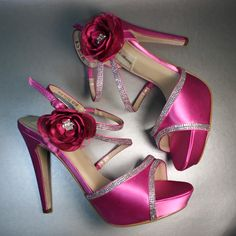 Raspberry Wedding Heels with Matching Flowers on the Ankle