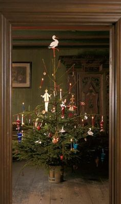 Danish Christmas tree as it would have been in the 1860's, Den Gamle By in Aarhus, Denmark