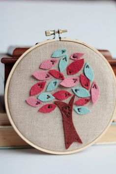 Embroidery Hoop Art. Love Me Knot. Hand-embroidered Felt Tree with Felt Leaves by Catshy Crafts.. Too Cute