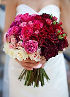 Featured Photographer: Erin Johnson; Gorgeous red, pink and white wedding bouquet