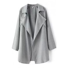 LUCLUC Gray Turn Down Collar Ruffle Trench Coat (435 NOK) ❤ liked on Polyvore featuring outerwear, coats, jackets, coats & jackets, ruffle collar coat, ruffle coat, trench coat, gray coat and collar coat