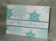 Coastal Flurries Stampin' Up! Festive Flurry, Special Season, Coastal Cabana, Bermuda Bay.  How about Snowflake Soiree in Midnight Muse?