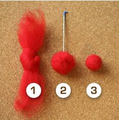 1.  Tie a single knot in the center of your roving  2.  Needle felt the ends up around the knot to pre-felt it  3.  Wet-felt the ball in soapy hot water and let dry