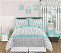 Zig Zag Turquoise and Gray Bedding Set by Sweet Jojo Designs by JoJo Designs - Zig Zag Turquoise and Gray - Cotton