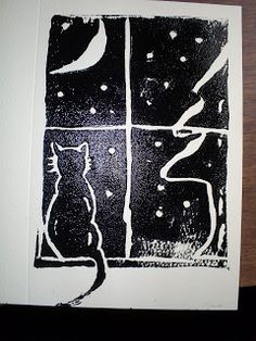 Christmas card linocut with kitty in the window, staring out at tree, snow, and moon Linolium, Linocut Prints, Art Prints, Block Prints, Painting Snow, Linoprint, Ink Illustrations, Xmas Cards, Christmas Art