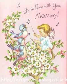 Bluebirds & Angels on a vintage Mother's Day card from my collection. The other images from this card are on my blog.