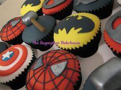 Marvel / DC Superhero Cupcakes  Cake by SugarplumB