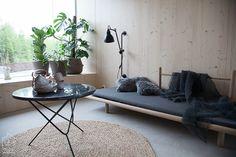 kevyt sohva ja suuret kasvit