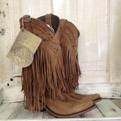 Liberty Black Brown Fringe Boots