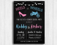 This is a Print-It-Yourself Invitation This Heels or Wheels (Dirt Bike) Gender Reveal Invitation is a great way to invite your friends and family over for the big reveal of your little one. Dimensions: 5×7 Inches Format Options: PDF or JPEG Instructions Fill out the requested information above and we will send your customized invitation via email within 1 business day! Please make sure everything has been filled out accurately and completely to prevent delay of …