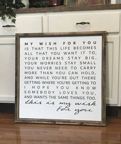 "My Wish For You 28"" x 28"" Framed Wood Sign, Canvas Sign, Song lyrics"