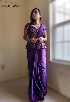 Violet Sarees Sequin With Peplum Blouse / Indian Usa / / Modern Wedding Dress Size 8 (M) New Saree Blouse Designs, Saree Blouse Patterns, Fancy Blouse Designs, Indian Fashion Dresses, Indian Designer Outfits, Saree Wearing Styles, Saree Styles, Dress Plus Size, Stylish Blouse Design
