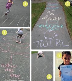 Sidewalk Chalk Ideas For Kids Fun active outdoor games and activities for summer Outside Activities For Kids, Outdoor Activities For Kids, Outdoor Learning, Toddler Activities, Learning Activities, Family Activities, Outdoor Fun For Kids, Outdoor Play, Outdoor Games For Children