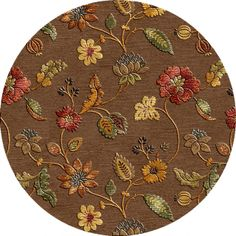 Round floral hand made rug. Featuring a raised pattern for extra plushness, this wool and silk hand-tufted rug.
