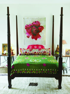 whimsical, global and bohemian - love the fabrics and sidetables