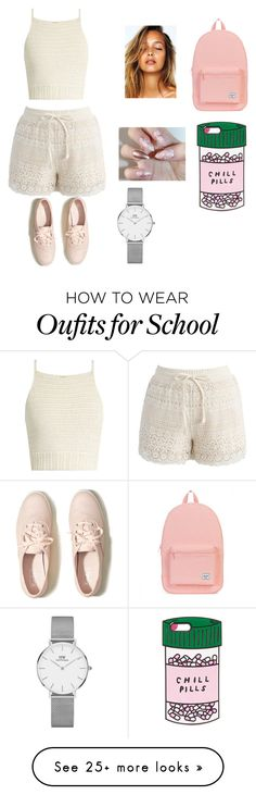 """""""For school"""" by rumii5 on Polyvore featuring SHE MADE ME, Chicwish, Hollister Co., Herschel, ban.do and Daniel Wellington"""