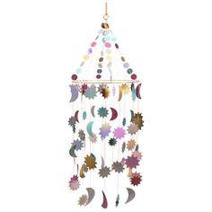 Metallic Moon And Stars Chandelier — Meri Meri UK Retail Star Chandelier, Floral Chandelier, Pyjamas Party, Dog Tree, Diy Girlande, Moon Crafts, Lilac Blossom, The Animals, Felt Tree
