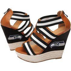 Cuce Shoes Seattle Seahawks Ladies Rookie 2 Sandals - Black/Brown