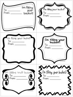 Bucket filler cards - FREE