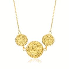 Jewelry Best Buy LLC VJRC-D184657-18 14K Yellow Gold Golden Drusy Trio Necklace