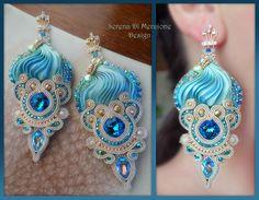 """""""Royal"""" Earrings - Designed by Serena Di Mercione - Beadembroidery and Soutache - Shibori silk, Swarovski, pearls."""
