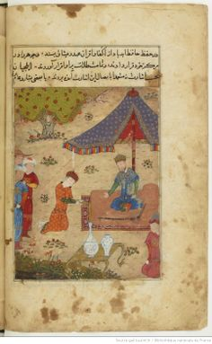 """R. Hillenbrandt Imperial Images in Persian Painting, Edinburgh, 1977, No. 142, p 64) six paintings [-seven others were in the ms. the former collection C. Huart-] that can be linked to the Timurid workshop Shiraz at the time of 'Abd-Ullah Sultan. They are: 1. F.30v-(116 x 154 mm) """"Sultan Ahmad receives [in 686H./1287] in his camp ambassadors and one of them bowed to him"""" 2-F. .67 (120 x 148)"""