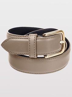 Unisex Basic Leather Belt (Grey/Gold) - Americanapparel.net