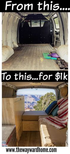 Find out how one couple did a DIY camper van conversion for just $1,000. If you're thinking of doing the van life, check this out. #vanlife #campervan #vanconversion