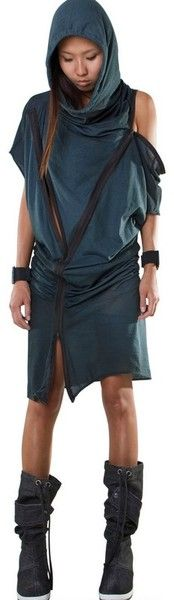 Hooded Draped Zip Cotton Jersey Dress - Lyst #Demobaza #Dress
