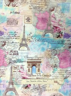 Timeless Treasures Fabric April in Paris Map Eiffel Tower Pastel C9661 Yards | eBay