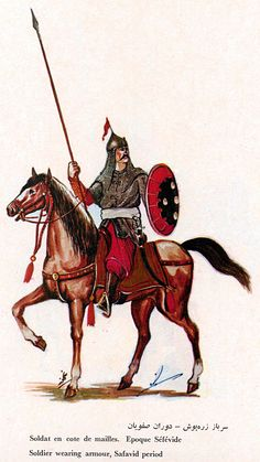 Soldier wearing armour, Safavid Empire