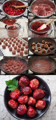 Cranberry Glazed Turkey Meatballs...think these are appetizers, not main dish items.  But, served with sweet potatoes, a side of dressing and cabbage/apple salad...dinner would be yummy!