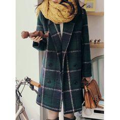 Vintage Lapel Long Sleeves Plaid Pocket Design Women's Coat