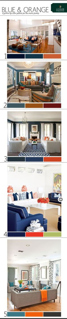 Complimentary Colors.  Using blue and orange in a family room.