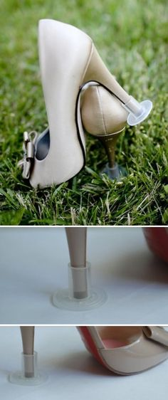 High Heel Protectors....have to find these before the next outdoor wedding!