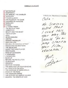 Scorsese's foreign film recommendations