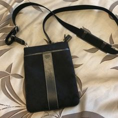 SOLD!!  Coach black cross body bag. Very good condition. Small mark on middle of leather strip, front of bag- pictured. Coach Bags Crossbody Bags