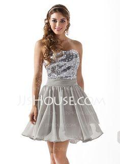 A-Line/Princess Sweetheart Short/Mini Chiffon  Charmeuse Homecoming Dresses With Beading