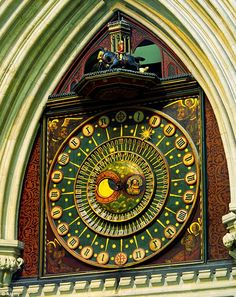Wells Cathedral Clock, Somerset,  England - this astronomical clock has worked continuously since 1390.
