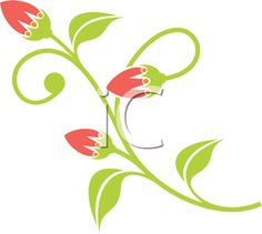Clipart Image of Flower Buds Opening