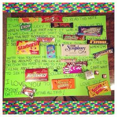 graduation card made with a 23x34 picture frame and candy