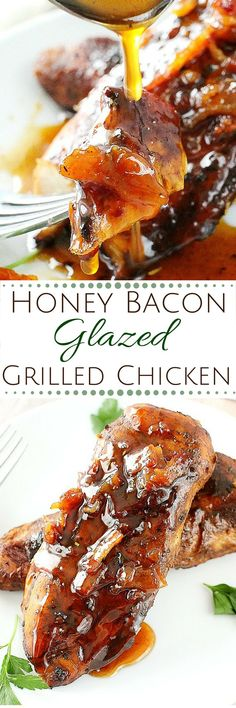 Marinated chicken, grilled to perfection and drizzled with a spicy honey bacon glaze.  This glazed chicken will be a family favorite!