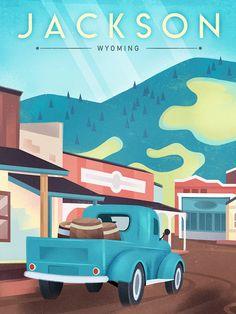 Jackson vintage travel poster, Martin Wickstrom