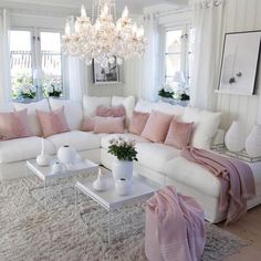 70 Super Ideas For Living Room Grey Vintage Shabby Chic Romantic Living Room, Elegant Living Room, Living Room Grey, Living Room Interior, Cozy Living, Pink Living Rooms, Blush Pink Living Room, Bright Living Room Decor, Living Room Inspiration