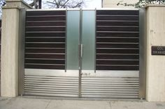 Manufacturers of highly durable stainless steel main gates for homes, offices… New Gate Design, Grill Gate Design, House Main Gates Design, Steel Gate Design, Front Gate Design, Door Gate Design, Gate For Home, Stainless Steel Gate, Modern Entrance Door