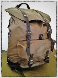 Recon Range - reconditioned military rucksacks: classic Swiss Mountain pack in rubberized canvas.