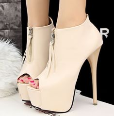 Details about Lady's Stylish Sexy Nightclub High Zipper Boots Mouth Fish Heads Shoes 3 Colors, Women's Shoes, Prom Shoes, Shoe Boots, Ankle Boots, Golf Shoes, Cute Heels, Lace Up Heels, Pumps Heels, Stiletto Heels