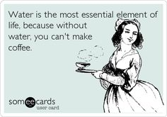 Funny Somewhat Topical Ecard: Water is the most essential element of life, because without water, you can't make coffee.