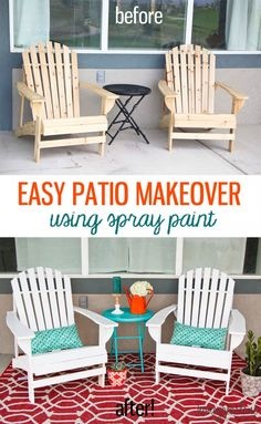 Adirondack chairs for our awesome front porch themed in our color scheme with an outdoor rug.